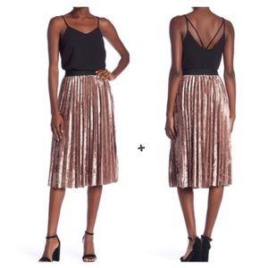 Anthropologie Moon River Pleated Velvet Midi Skirt